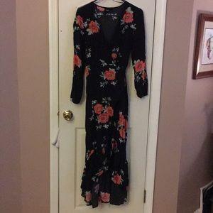 Long sleeve wrap dress-short in front/long in back